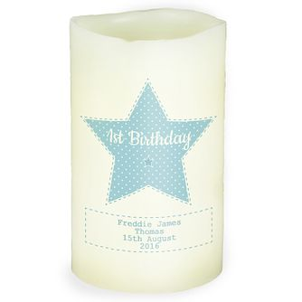 Personalised Stitch & Dot Boys LED Candle - Product number 4969936