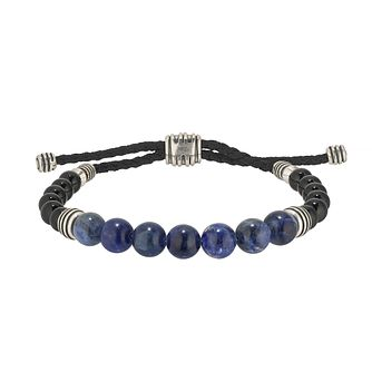 Esquire Silver ,Sodalite & Onyx Bead Adjustable Bracelet - Product number 4976363