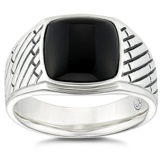 Esquire Sterling Silver Black Onyx Signet Ring - Product number 4976487