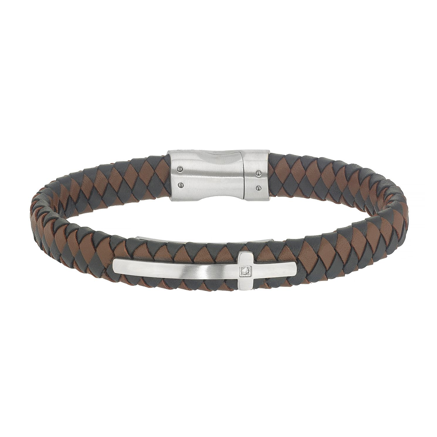Esquire Leather & Stainless Steel Diamond Cross Bracelet - Product number 4976908