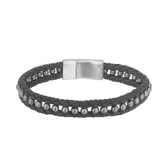 Esquire Stainless Steel Black Leather & Hematite Bracelet - Product number 4977394