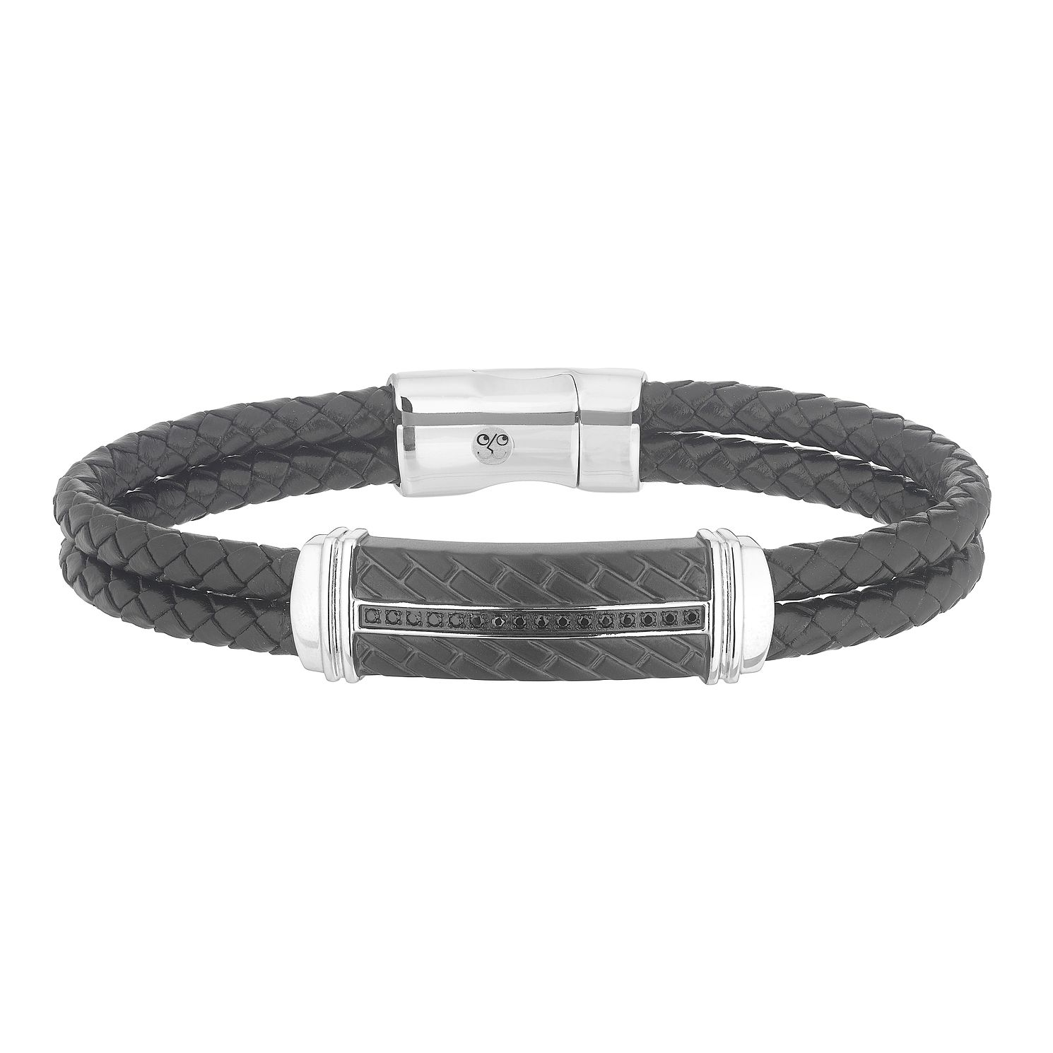 Esquire Leather & Black IP Stainless Steel Diamond Bracelet - Product number 4977416
