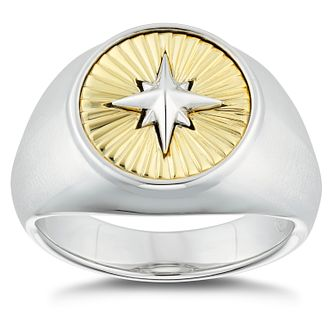 Esquire Two Tone Star Signet Ring - Product number 4977521