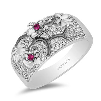 Enchanted Disney Fine Jewelry Garnet & Diamond Mulan Ring - Product number 4979958