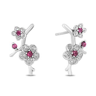 Enchanted Disney Fine Jewelry Garnet Diamond Mulan Earrings - Product number 4980794