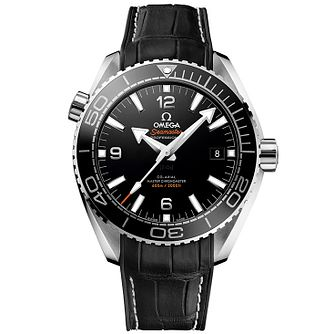 Omega Seamaster Planet Ocean Men's Black Leather Strap Watch - Product number 4981448