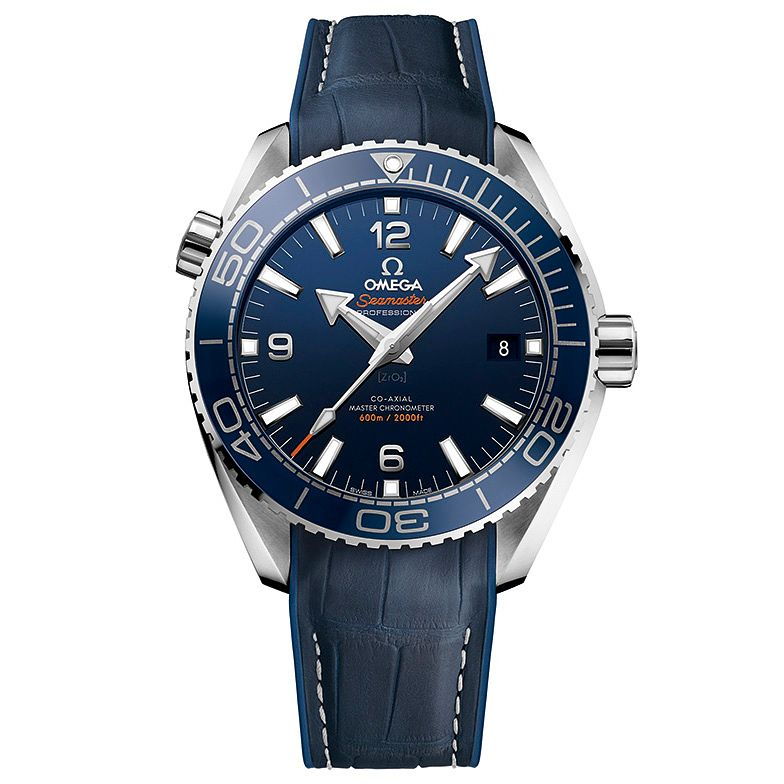 Omega Seamaster Planet Ocean Men's Blue Leather Strap Watch - Product number 4981456