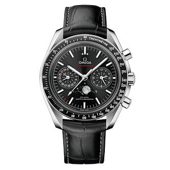 Omega Speedmaster Moonwatch Men's Black Leather Strap Watch - Product number 4981553