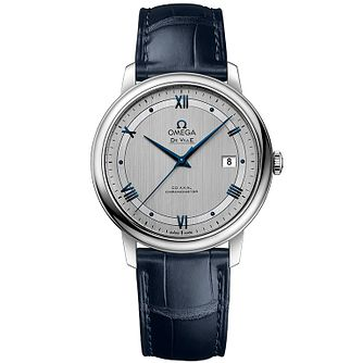 Omega De Ville Men's Blue Leather Strap Watch - Product number 4981626