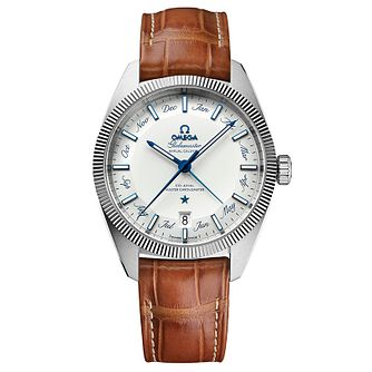 Omega Globemaster Men's Brown Leather Strap Watch - Product number 4981677