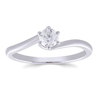9ct White Gold 1/3ct Diamond 6 Claw Solitaire Ring - Product number 4987098