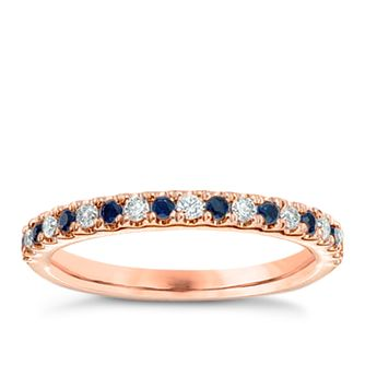 Vera Wang 18ct rose gold diamond & sapphire wedding band - Product number 4987519