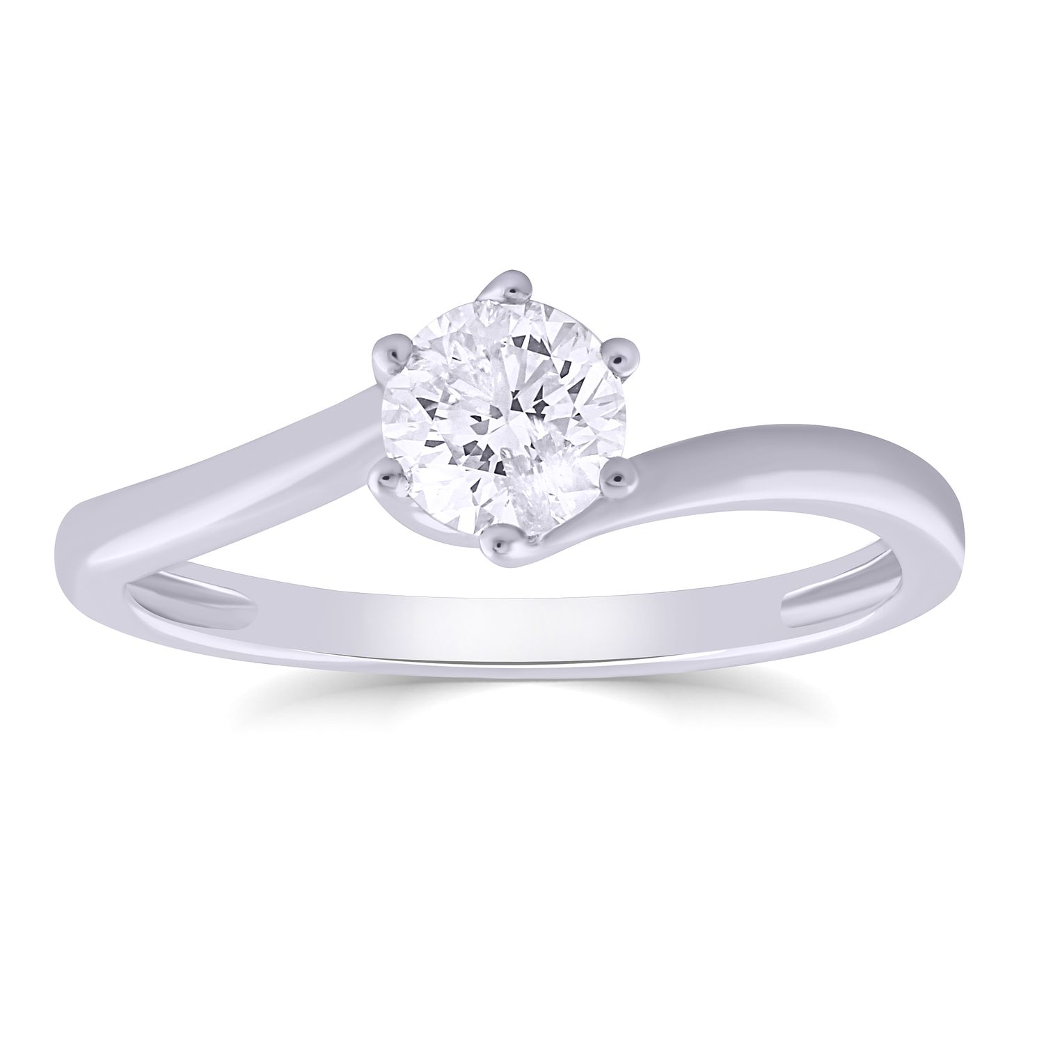 9ct White Gold 1/2ct Diamond 6 Claw Solitaire Ring - Product number 4987918