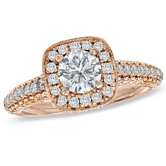 Vera Wang 18ct Rose Gold 1.7 Carat Diamond Halo Ring - Product number 4988442