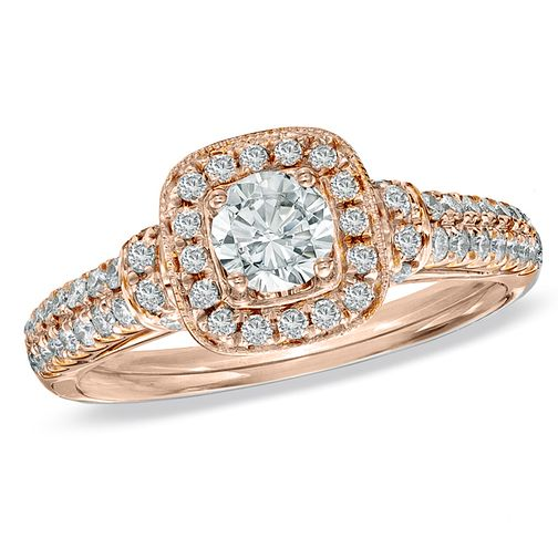 Vera Wang 18ct rose gold 70pt diamond cushion halo ring - Product number 4989252