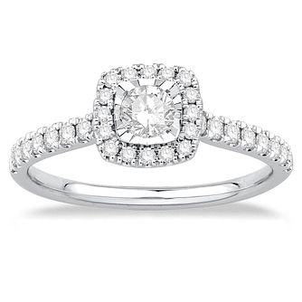 9ct White Gold 1/2ct Cushion Illusion Set Diamond Ring - Product number 4992849