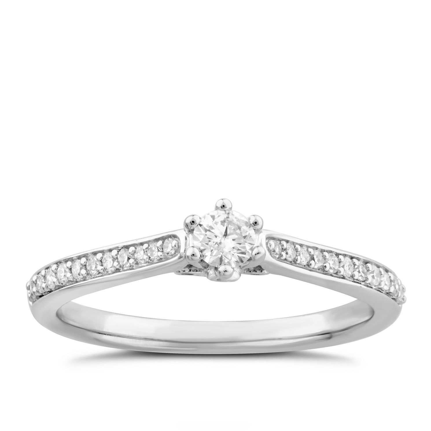 9ct White Gold 0.25ct Total Diamond Solitaire Ring - Product number 4993241