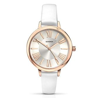 Sekonda Editions Ladies' Silver Dial White PU Strap Watch - Product number 4994019