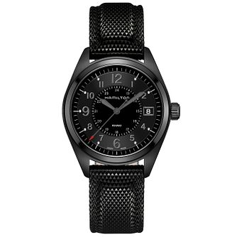 Hamilton Men's Black Leather Strap Watch - Product number 4995066