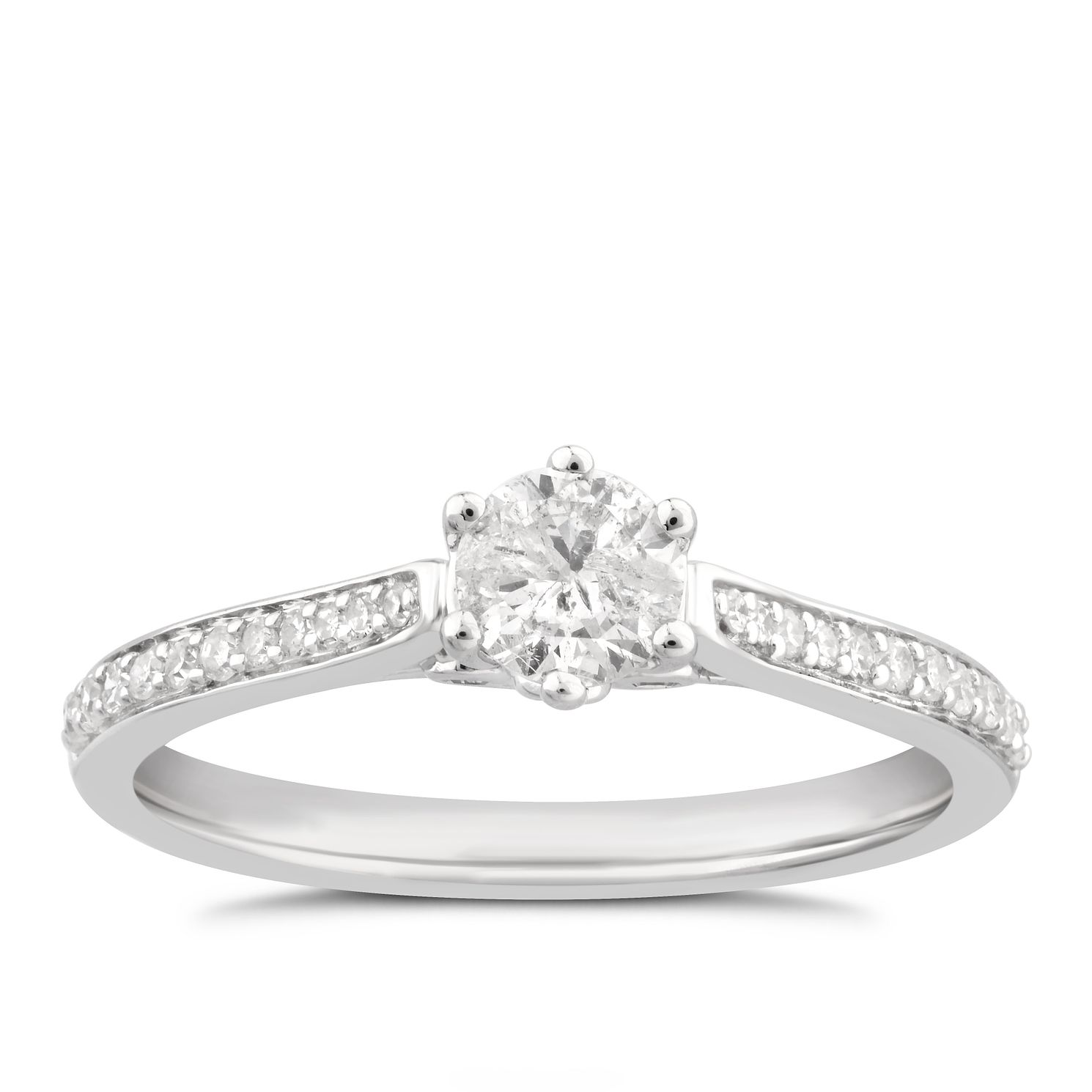 9ct White Gold 0.50ct Total Diamond Halo Ring - Product number 4995945