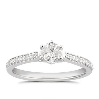 9ct White Gold 1/2ct Diamond Halo Ring - Product number 4995945