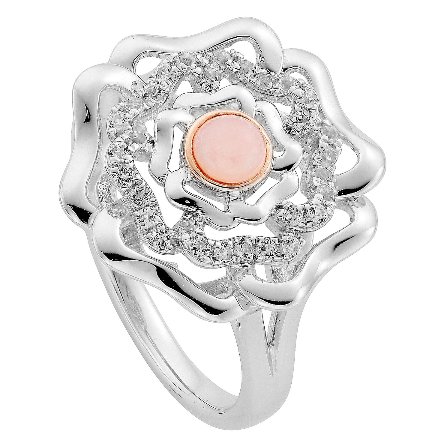 Clogau Silver 9ct Rose Gold Tudor Rose Ring Size P - Product number 4996313