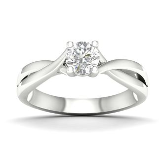 9ct White Gold 1/2ct Diamond Twist Ring - Product number 4996658