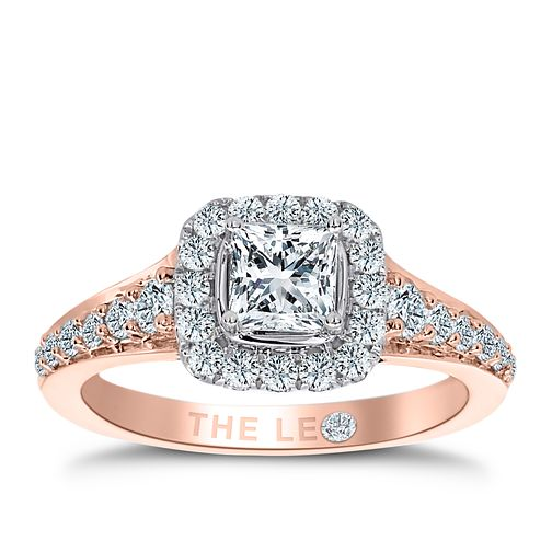 Leo Diamond 18ct Rose Gold 1.10ct I I1 Diamond Halo Ring - Product number 4996704
