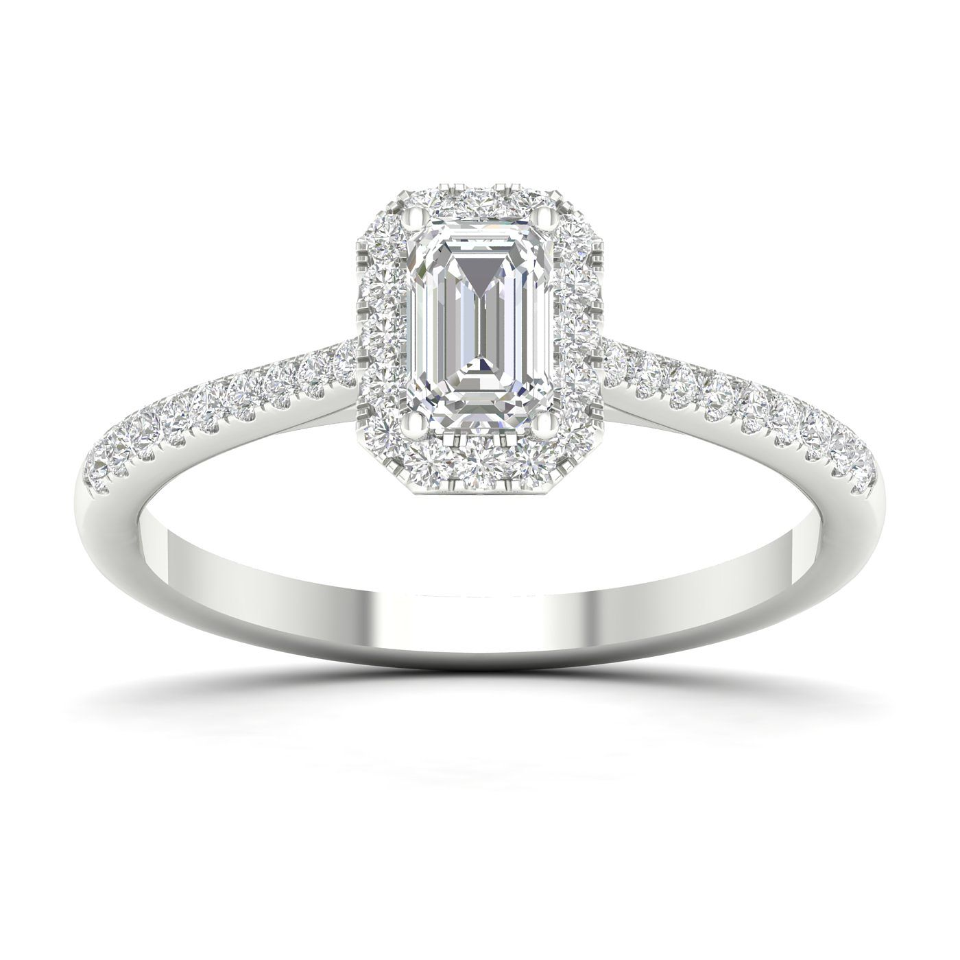 9ct White Gold Emerald & 0.50ct Diamond Ring - Product number 4997026
