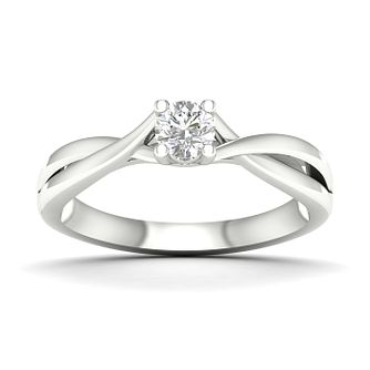 9ct White Gold 1/4ct Diamond Twist Ring - Product number 4998464