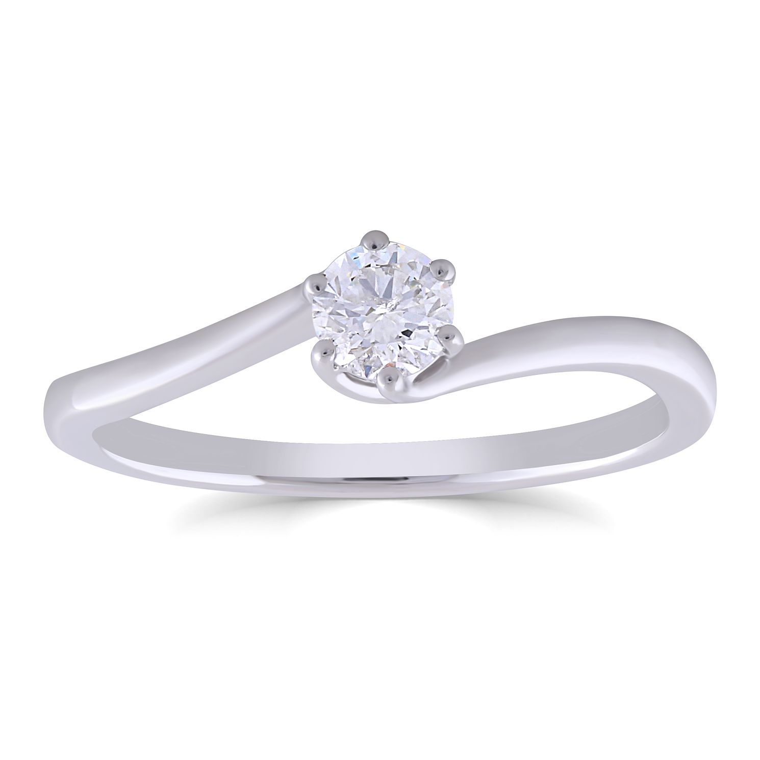 9ct White Gold 0.25ct Diamond 6 Claw Solitaire Ring - Product number 4998855