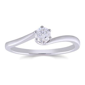 9ct White Gold 1/4ct Diamond 6 Claw Solitaire Ring - Product number 4998855