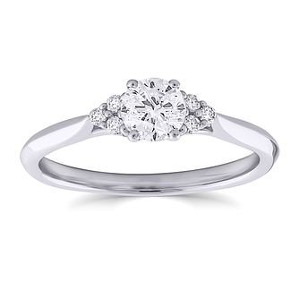 9ct White Gold 1/2ct Diamond Cluster Ring - Product number 4999118