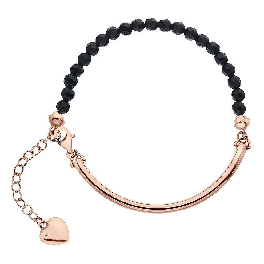 Hot Diamonds Rose Gold Plated Black Onyx 4mm Bracelet - Product number 5000998