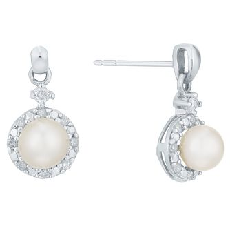 9ct White Gold Cultured Freshwater Pearl & Diamond Earrings - Product number 5001145