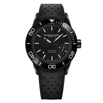 Raymond Weil Freelancer Men's Black Rubber Strap Watch - Product number 5007828