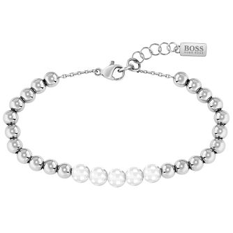 BOSS Beads Ladies' Stainless Steel & White Ceramic Bracelet - Product number 5008638