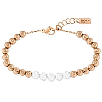 BOSS Beads Ladies' Rose Gold Tone & White Ceramic Bracelet - Product number 5008662