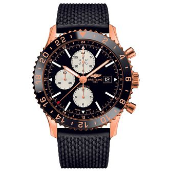 Breitling Chronoliner Men's 18ct Rose Gold Black Strap Watch - Product number 5008697