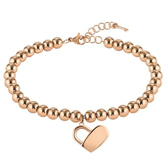 BOSS Beads Ladies' Rose Gold Tone Heart Bracelet - Product number 5009073