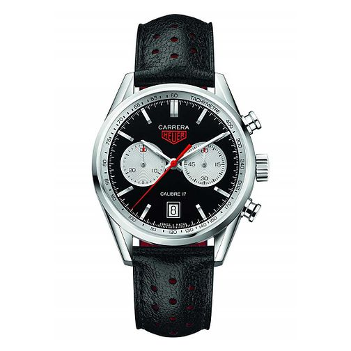 TAG Heuer Carrera Men's Black Leather Strap Watch - Product number 5009405