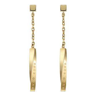 BOSS Signature Ladies'  Yellow Gold Tone Drop Earrings - Product number 5010535