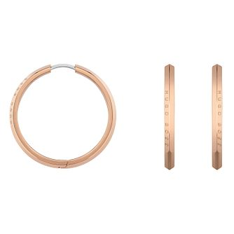 BOSS Insignia Ladies' Rose Gold Tone Hoop Earrings - Product number 5010845