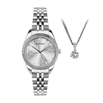 Sekonda Editions Silver Tone Watch & Pendant Set - Product number 5011108