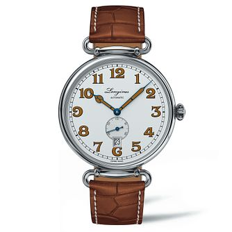 Longines Heritage 1918 Men's Brown Leather Strap Watch - Product number 5011493