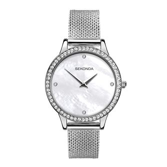 Sekonda Crystal Ladies' Silver Tone Mesh Bracelet Watch - Product number 5012031