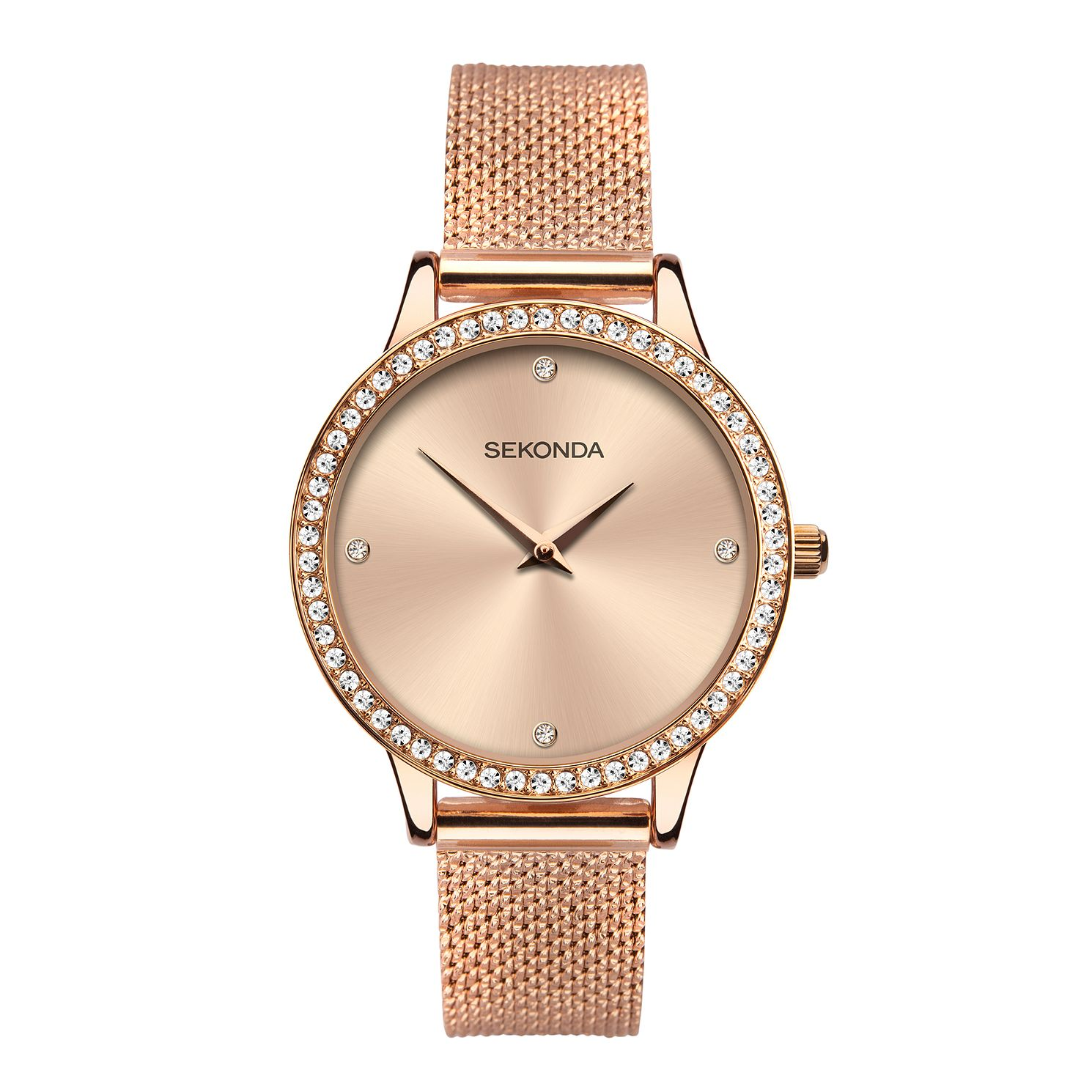 Sekonda Crystal Ladies' Rose Gold Tone Mesh Bracelet Watch - Product number 5012058