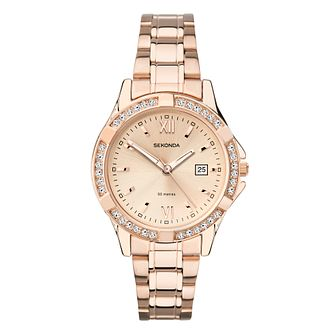 Sekonda Crystal Ladies' Rose Gold Tone Bracelet Watch - Product number 5015049