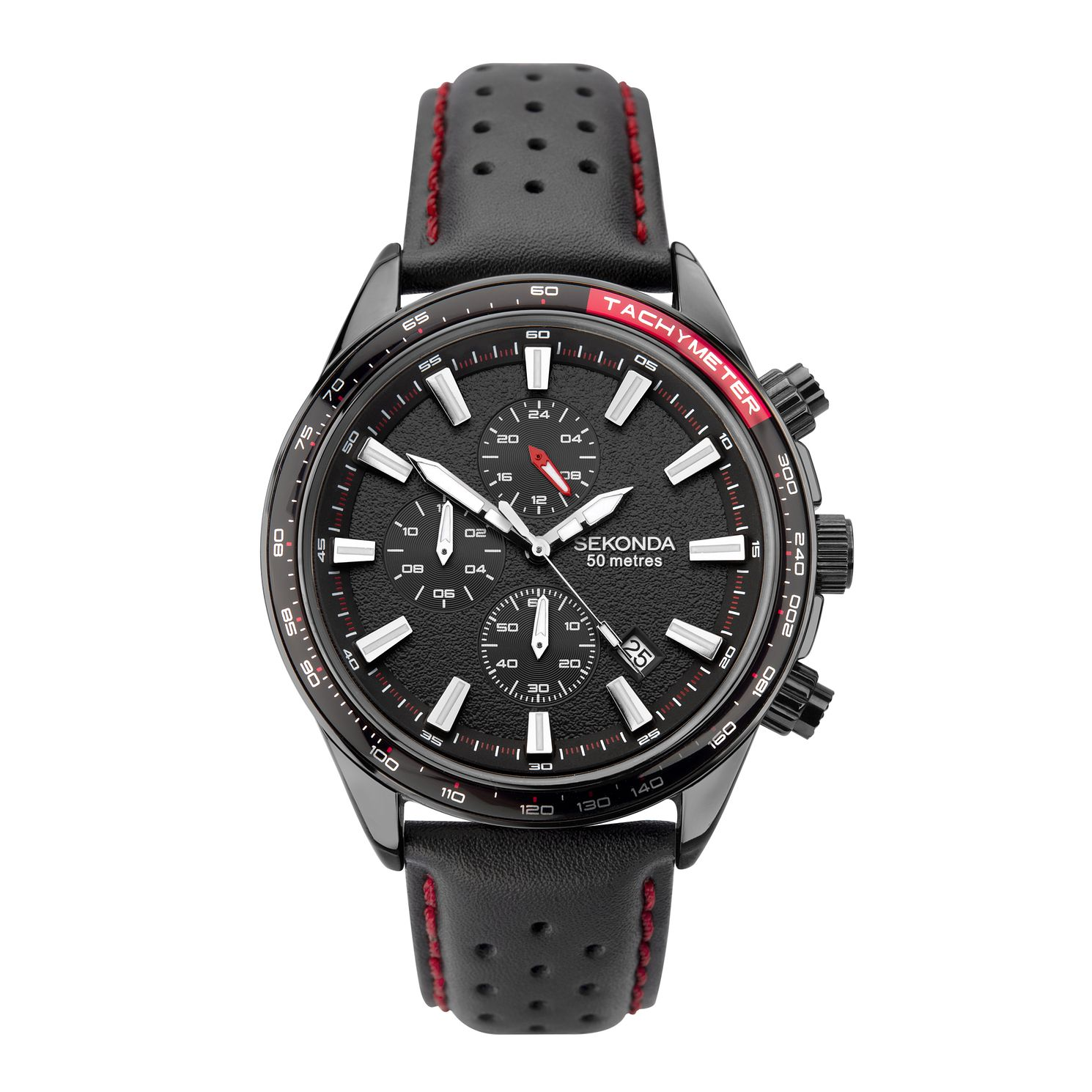 Sekonda Chronograph Men's Black Leather Strap Watch - Product number 5016045