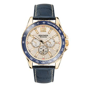 Sekonda Men's Blue Leather Strap Watch - Product number 5016096